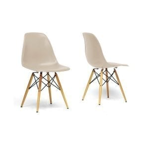 Eames Style Plastic Shell Dining Chairs Beige