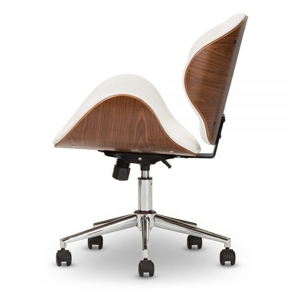 Bruce Bent Plywood Office Chair White Side