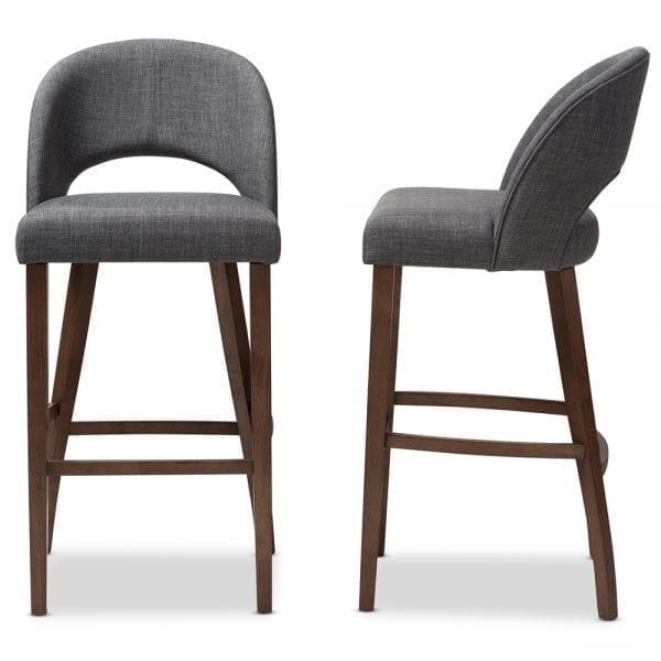 Melrose Upholstered Bar Stools Dark Grey Front And Side