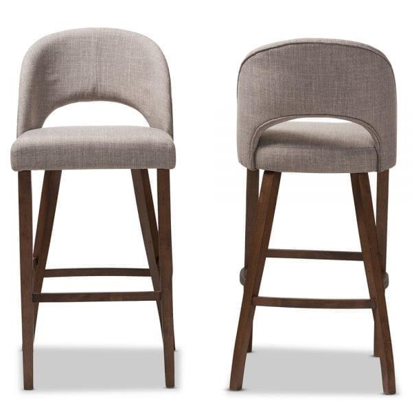 Melrose Upholstered Bar Stools Set Of 2 Mid Decco