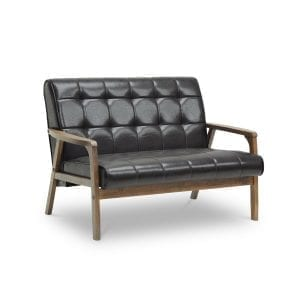Mid Decco Danish Modern Loveseat Brown Angle