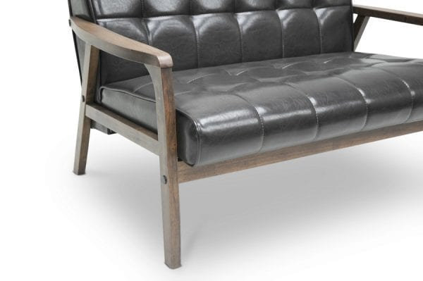 Mid Decco Danish Modern Loveseat Brown Frame Detail