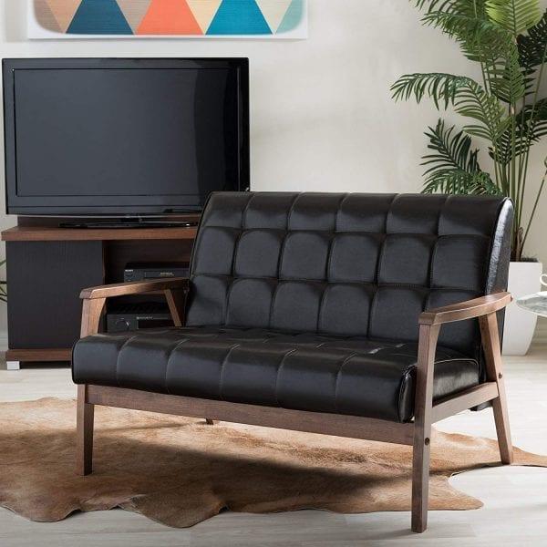 Mid Decco Danish Modern Loveseat Brown Living Room