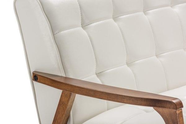 Mid Decco Danish Modern Loveseat White Frame Detail