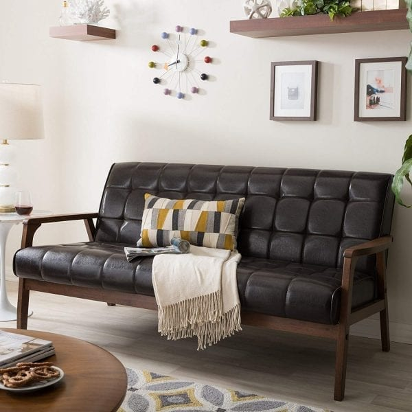 Mid Decco Danish Modern Sofa Brown Living Room