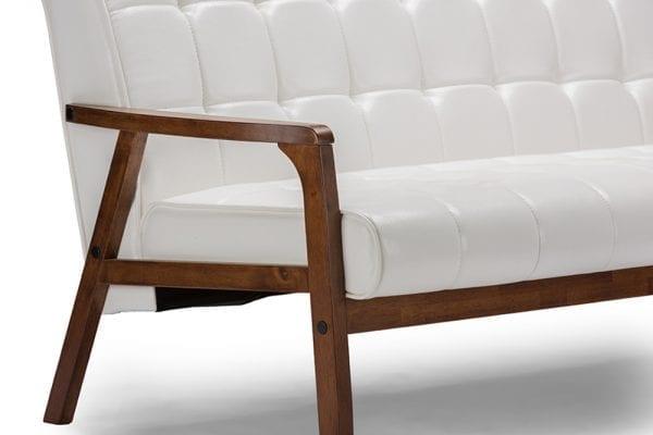 Mid Decco Danish Modern Sofa White Arm Detail