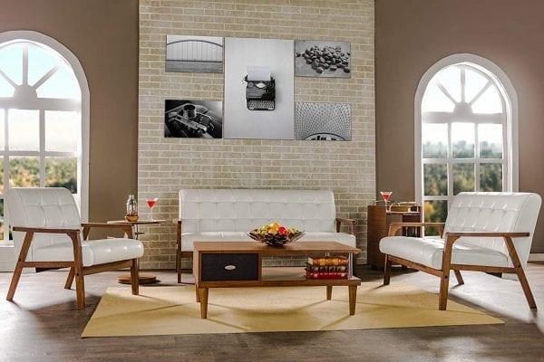 Mid Decco Danish Modern Sofa White Living Room