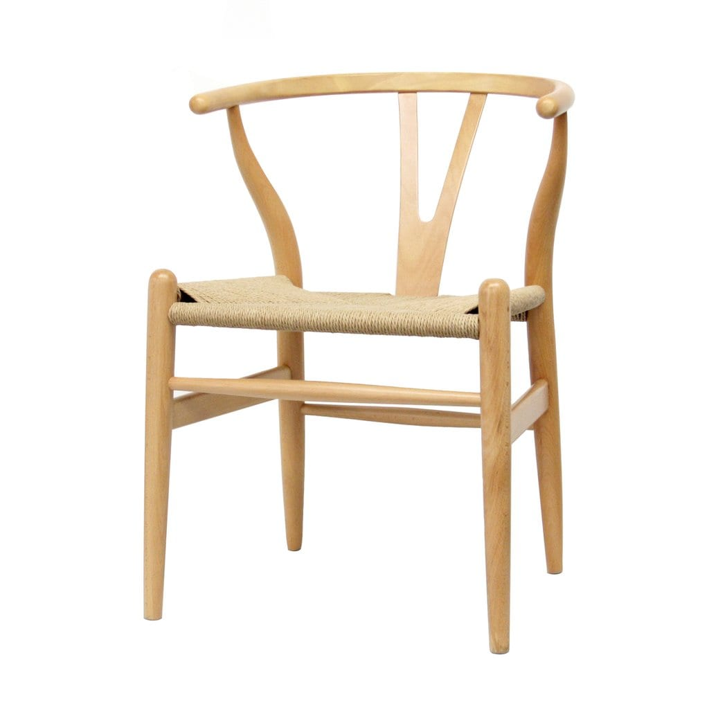 Mid Decco Wishbone Chair Natural and Natural