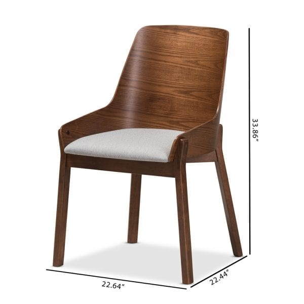 Rye Bent Wood Dining Chairs Light Grey Dimensions