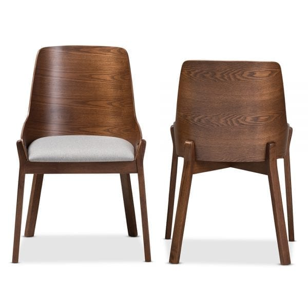 Rye Bent Wood Dining Chairs Light Grey Front and Back