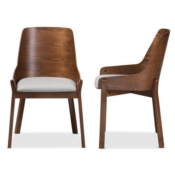 Rye Bent Wood Dining Chairs Light Grey Front and Side