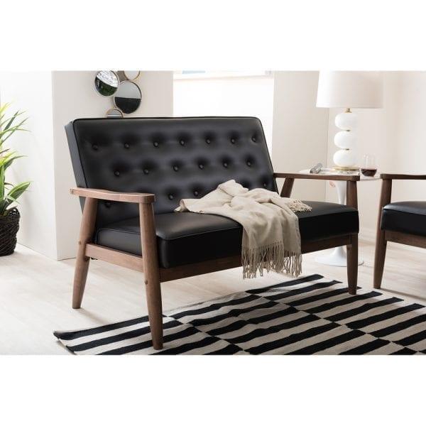 Sorrento Mid-Century Tufted Loveseat Black Living Room
