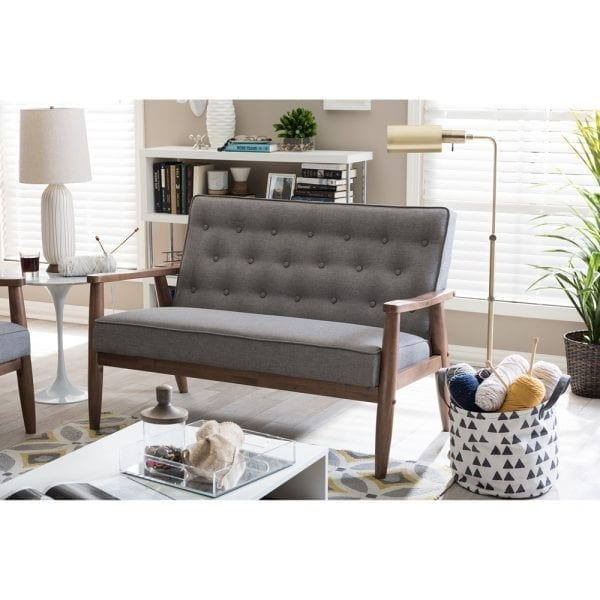 Sorrento Mid-Century Tufted Loveseat Grey Living Room