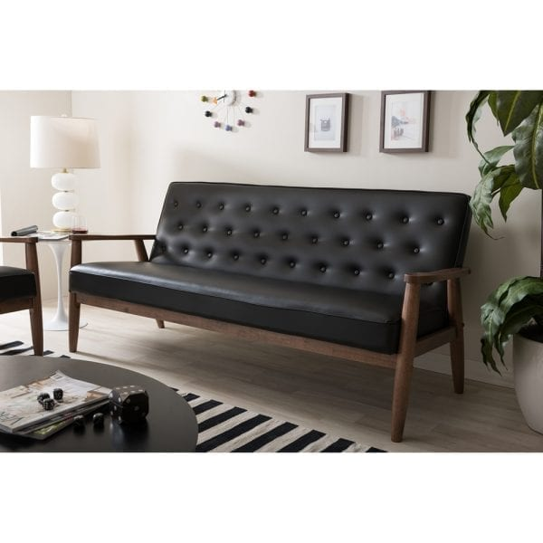 Sorrento Mid-Century Tufted Sofa Black Living Room
