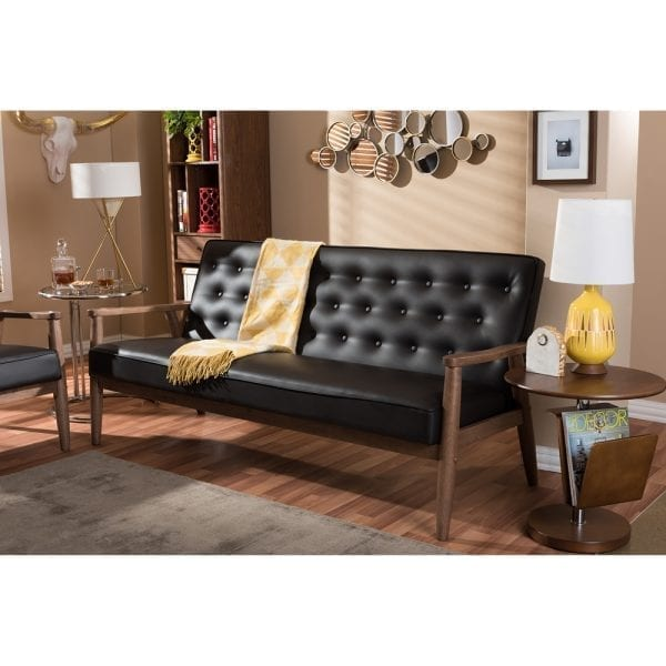 Sorrento Mid-Century Tufted Sofa Brown Living Room