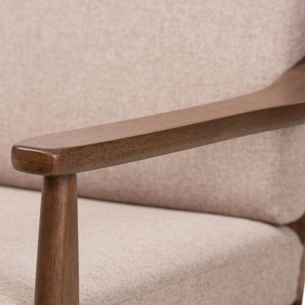 Venza Danish Modern Loveseat Brown Arm Detail