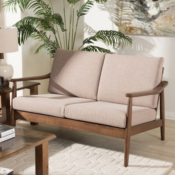 Venza Danish Modern Loveseat Brown Living Room