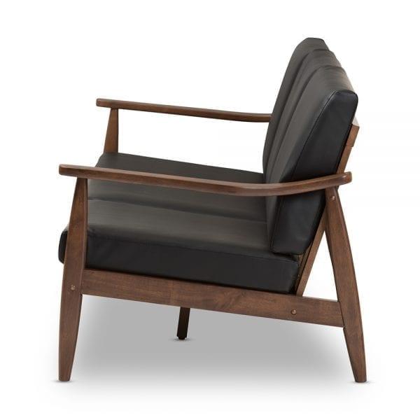 Venza Danish Modern Sofa Black Side