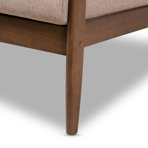 Venza Danish Modern Sofa Brown Leg Detail