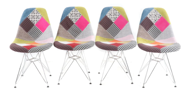 Eames-style DSR chairs with patchwork upholstery and eiffel-style legs.