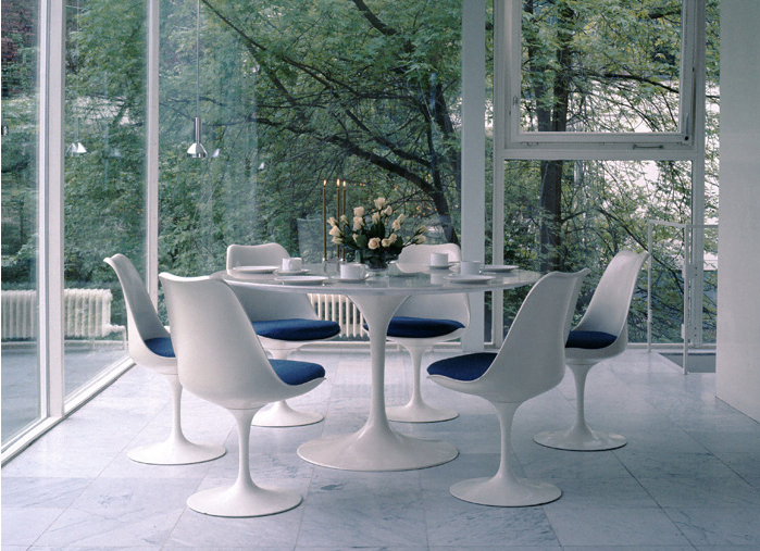 Classic Tulip Chairs and a Saarinen Table, offered by Knoll.