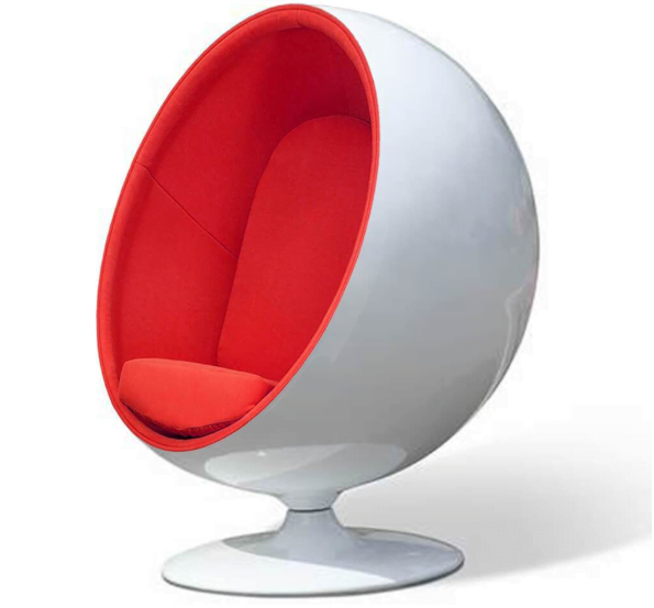 Ball Chair with Red Upholstery