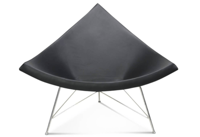 George Nelson Coconut Chair in Black Leather