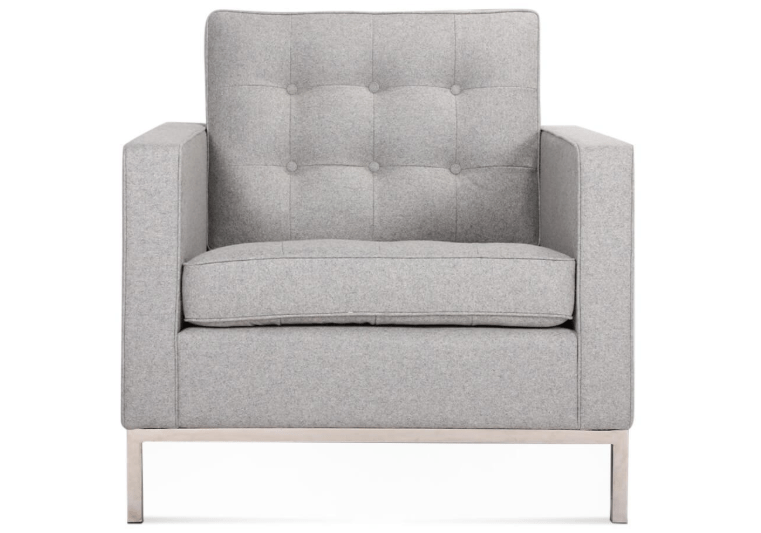 Florence Armchair in Light Grey Upholstery