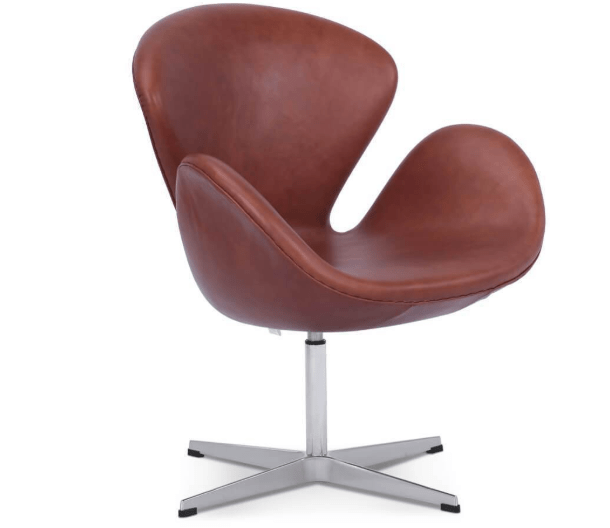 Arne Jacobsen Swan Chair in Brown Leather