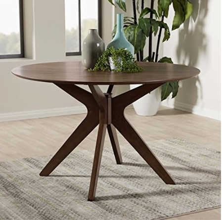 Hawthorne Collections Round Dining Table in Walnut Brown by Hawthorne Collections