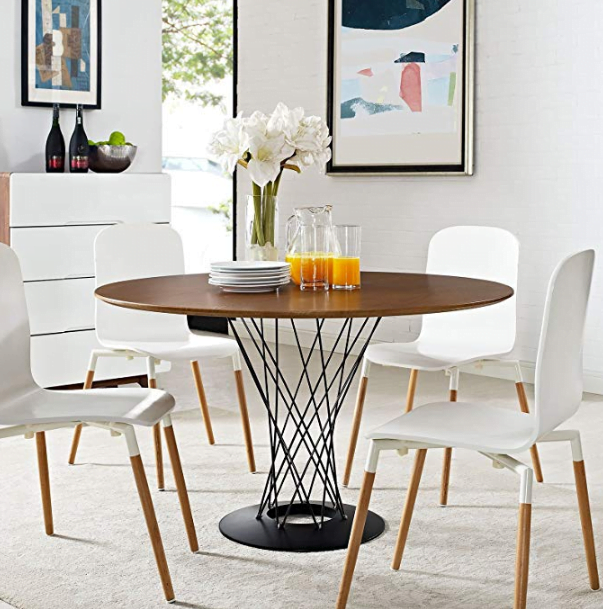 Modway Cyclone Mid-Century Modern Round Steel Pedestal Dining Table in Walnut