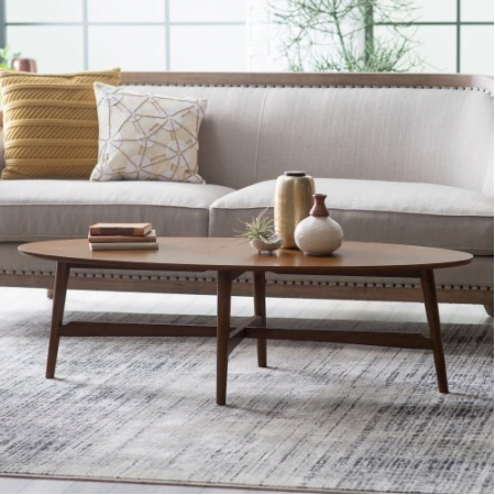 Darby Mid Century Modern Coffee Table Oval Top Made with Solid Poplar, Rubberwood, and Birch Veneers in Dark Walnut Finish