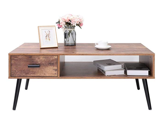 IWELL Mid-Century Coffee Table with 1-Drawer and Storage Shelf