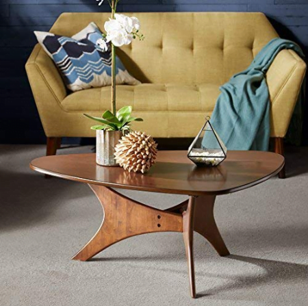 nk+Ivy Blaze Accent Tables - Wood Coffee Table - Solid Rubberwood Pecan Finish, Contemporary Style Cocktail Tables - 1 Piece Solid Wood Coffee Tables For Living Room