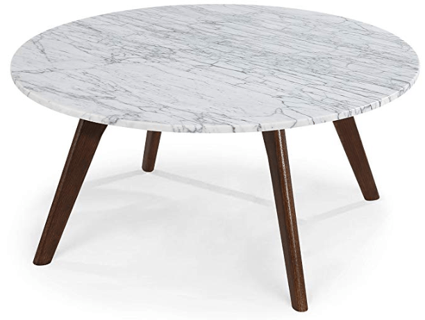 Poly and Bark EM-337-WAL Riley Marble Round Coffee Table, Walnut