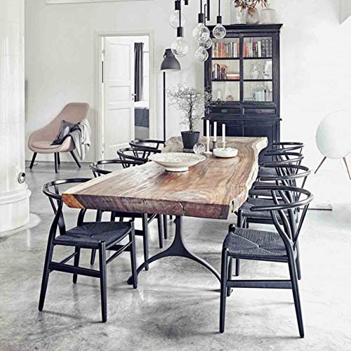 Black on Black Wishbone Chairs in a Contemporary Dining Room