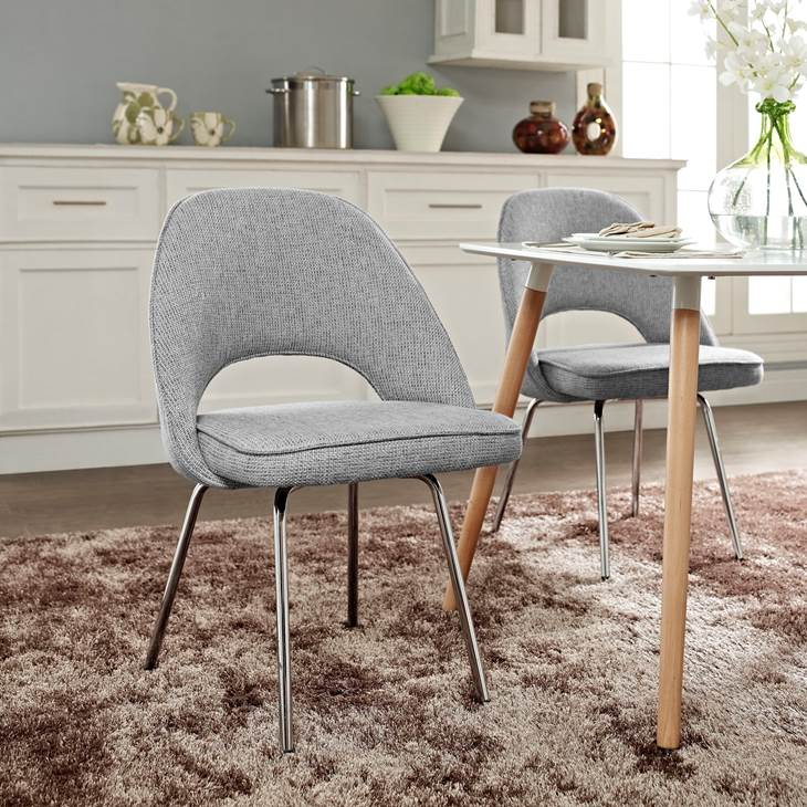 CORDELIA DINING FABRIC SIDE CHAIR IN LIGHT GRAY