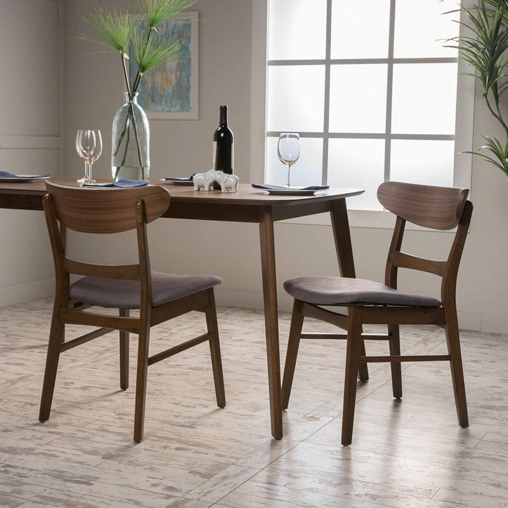 Christopher Knight Home 298967 Idalia Fabric/Walnut Finish Dining Chair (Set of 2), Dark Grey