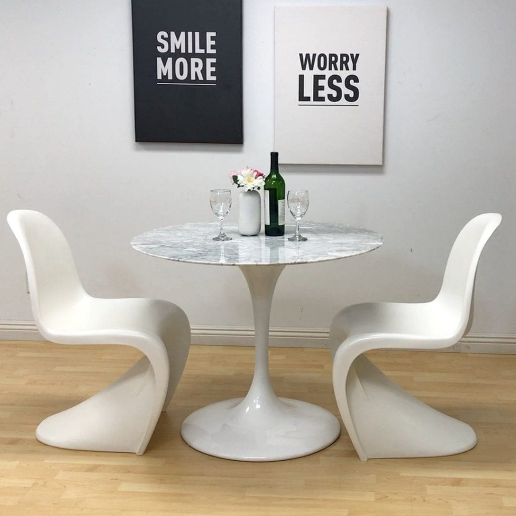 Mod Made Mid Century Modern Molded Plastic S-Shape Chair Dining Chair, White