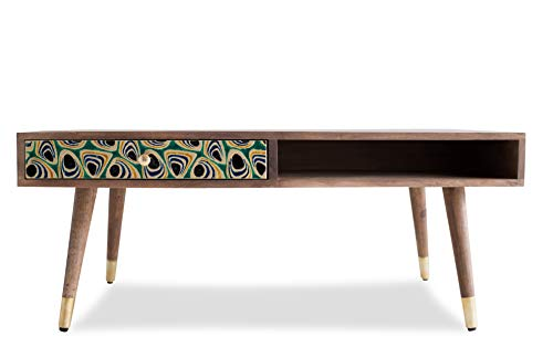 Edloe Finch Coffee Table with Drawer Painted Peacock
