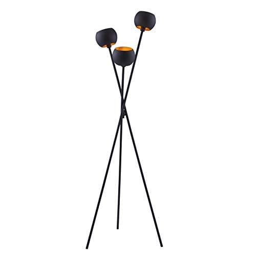 Archiology Black Floor Lamp with 3 Matte Black Globe Head