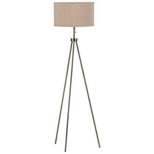 Rivet Mid-Century Modern Tripod Floor Lamp, Antique Brass
