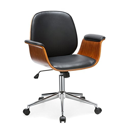 Selma Office Chair With Curved Wooden Armrests
