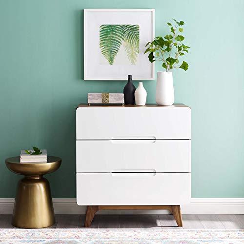 Modway Origin 3-Drawer Bedroom Chest in Walnut White