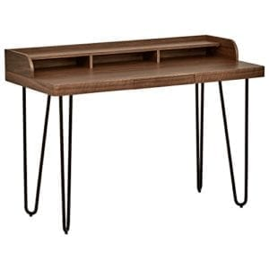 Rivet Modern Wood and Metal Hairpin Small Table Desk