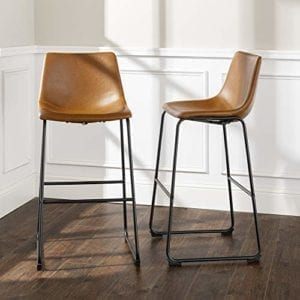 Industrial Faux Leather Barstool with Metal Legs