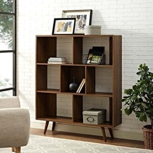 Modway Transmit Offset Cube Wood Bookcase in Walnut