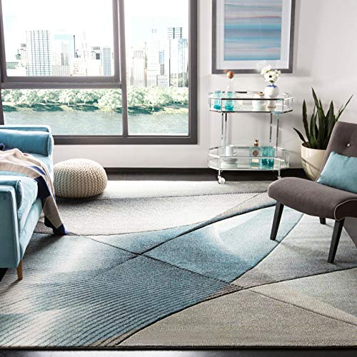 Safavieh Grey and Teal Abstract Area Rug