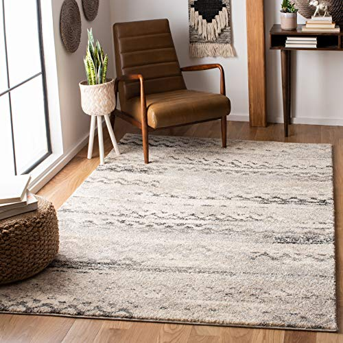 Safavieh Retro Abstract Cream and Grey Area Rug, 5x8