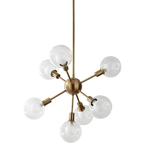 Rivet Mid-Century Modern Chandelier With 7 Light Bulbs
